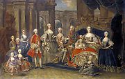 Austrian Royal Family': Maria Teresa (1717-1780) Holy Roman Empress, Archduchess of Austria, Queen of Hungary and Bohemia with husband Emperor Francis I (1708-1765) and their family.  Austrian School c1764. Oil on canvas.
