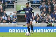 Derby County defender Ashley Cole (26)  gestures during the The FA Cup 5th round match between Brighton and Hove Albion and Derby County at the American Express Community Stadium, Brighton and Hove, England on 16 February 2019.