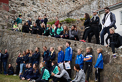 Teams line up to watch the cannon demonstration at Ladies Tour of Norway Team Presentation 2018, in Halden, Norway on August 15, 2018. Photo by Sean Robinson/velofocus.com