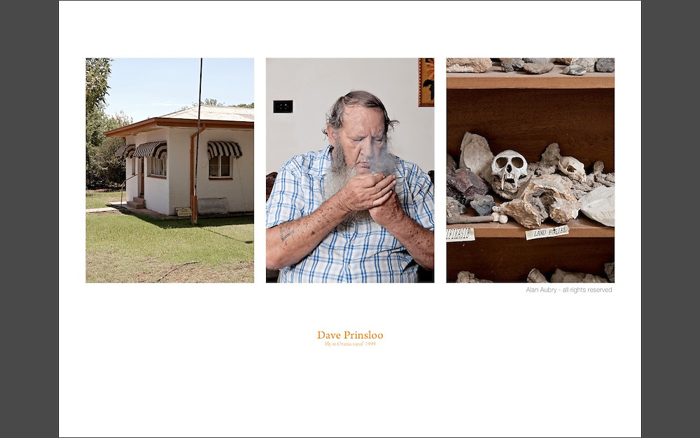 "Dave Prinsloo. Lives in Orania since 1999. Dave is a former police officer, a former soldier and a former mercenary. He became very religious, he is a member of the ""Israel Truth"" movement with its literal and strict interpretation of the Bible. Dave is also passionate about geology."