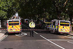 © Licensed to London News Pictures. 15/09/2017. London, UK. Police respond to incident at Parsons Green Underground Station. Police and fire services gather at the scene of an home made bomb attack at Parson's Green District line tube station network. The home made bomb exploded near Parson Green tube station. Photo credit: Ray Tang/LNP