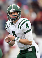 Ohio quarterback Tyler Tettleton calls signals against Louisiana-Monroe during the third quarter of the Independence Bowl NCAA college football game, Friday, Dec. 28, 2012, in Shreveport, La.