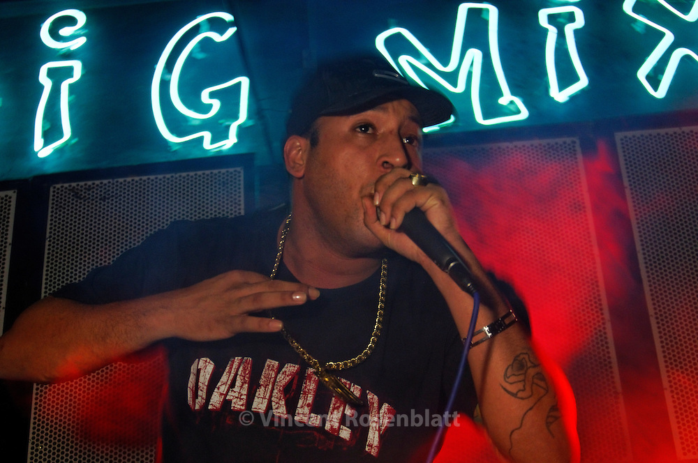 "MC Frank, veteran Baile Funk singer especialized in ""Neurotico"" or ""Proibidão"", gangstar lyrics that caused him regular persecution by the police of Rio de Janeiro."