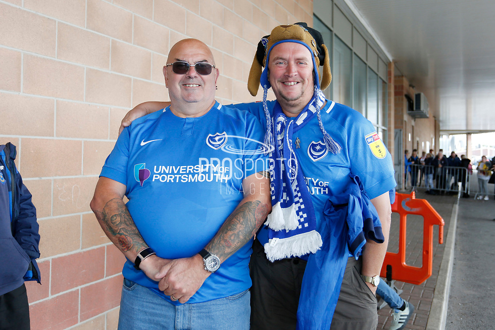 Portsmouth fans during the EFL Sky Bet League 1 match between Blackpool and Portsmouth at Bloomfield Road, Blackpool, England on 31 August 2019.