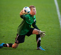 LIVERPOOL, ENGLAND - Saturday, January 8, 2011: Crystal Palace's goalkeeper Charlie Mann in action against Liverpool during the FA Youth Cup 4th Round match at Anfield. (Pic by: David Rawcliffe/Propaganda)