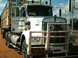 A roadtrain owned by Bell's Pastoral Company, Fitzroy Crossing, circa 1980.