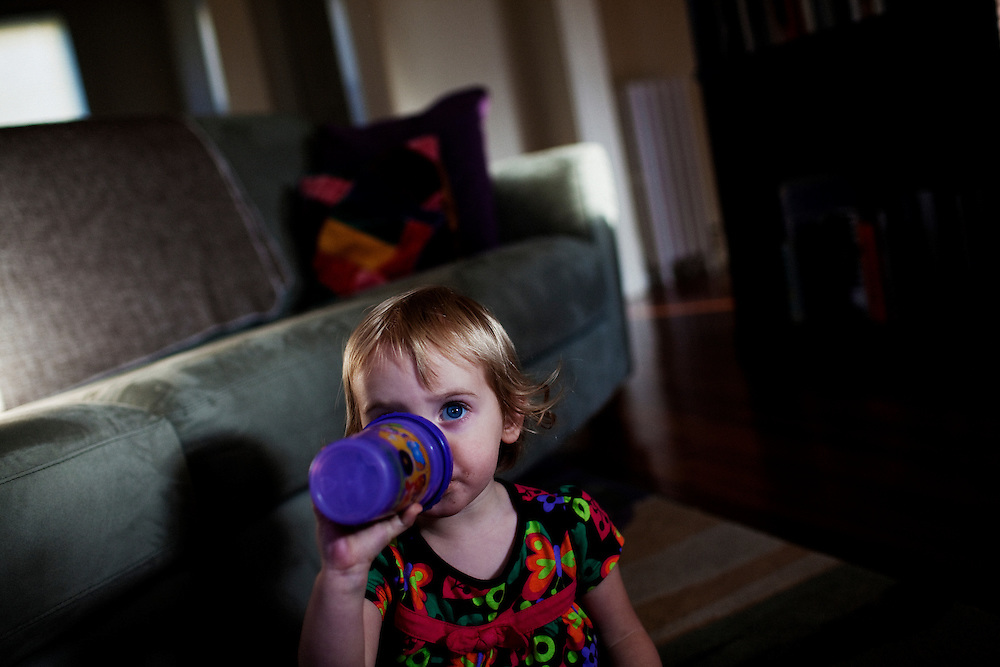 Madelyn Avery Eich, 2, during snack time in her home in Norfolk, Virginia on Thursday, April 1, 2010.