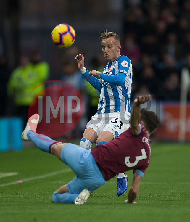 Florent Hadergjonaj of Huddersfield Town and Aaron Cresswell of West Ham United (R) in action - Mandatory by-line: Jack Phillips/JMP - 10/11/2018 - FOOTBALL - The John Smith's Stadium - Huddersfield, England - Huddersfield Town v West Ham United - English Premier League