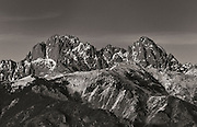 Crestone Peak and Crestone Needle, two fourteen thousand foot peaks in the Sangre de Cristo Range, Colorado