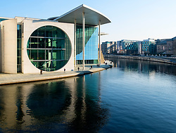 External view of modern Government buildings Marie-Elisabeth-Luders-Haus on River Spree in central Berlin, Germany