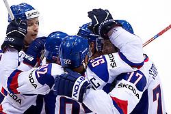 Players of Slovakia celebrate during ice-hockey match between Slovakia and Slovenia of Group A of IIHF 2011 World Championship Slovakia, on April 29, 2011 in Orange Arena, Bratislava, Slovakia. Slovakia defeated Slovenia 3-1. (Photo By Vid Ponikvar / Sportida.com)