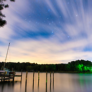 A night shot of the waterfront of Barrett Cove on Maryland's Eastern Shore on the Chesapeake Bay.