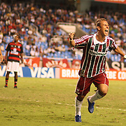 Fluminense striker Rodriguinho celebrates after scoring his sides third goal during the Flamengo V  Fluminense, Futebol Brasileirao  League match at Estadio Olímpico Joao Havelange, Rio de Janeiro, The classic Rio derby match ended in a 3-3 draw. Rio de Janeiro,  Brazil. 19th September 2010. Photo Tim Clayton.