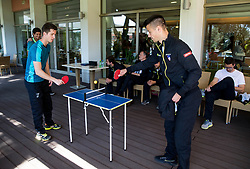 Aljaz Bedene and Mike Urbanija playing table tennis during Meet and Greet prior to the Official Draw of Davis Cup 2018 Europe/Africa zone Group II between Slovenia and Turkey, on April 6, 2018 in Portoroz / Portorose, Slovenia. Photo by Vid Ponikvar / Sportida