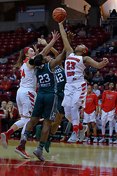 10 December 2017: Megan Talbot, Danielle Minott, Micah Robinson and Viria Livingston work for a rebound during an College Women's Basketball game between Illinois State University Redbirds and the Eagles of Eastern Michigan at Redbird Arena in Normal Illinois.