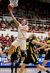 March 22, 2010; Stanford, CA, USA;  Stanford Cardinal forward/center Jayne Appel (2) shoots past Iowa Hawkeyes guard Jaime Printy (24) during the first half in the second round of the 2010 NCAA womens basketball tournament at Maples Pavilion. Stanford defeated Iowa 96-67.