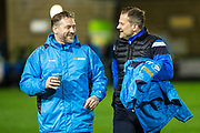 Forest Green Rovers assistant manager, Scott Lindsey and Forest Green Rovers manager, Mark Cooper during the Vanarama National League match between Forest Green Rovers and Solihull Moors at the New Lawn, Forest Green, United Kingdom on 21 March 2017. Photo by Shane Healey.