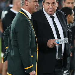JOHANNESBURG, SOUTH AFRICA - OCTOBER 05: Heyneke Meyer (Head Coach) of South Africa with Steve Hansen (Head Coach) of the All Blacks during The Rugby Championship match between South Africa and New Zealand at Ellis Park on October 05, 2013 in Johannesburg, South Africa. (Photo by Steve Haag/Gallo Images)