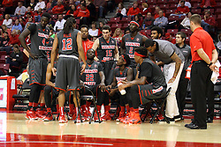 08 November 2015: Redbird team huddle. Illinois State Redbirds host the Southern Indiana Screaming Eagles and beat them 88-81 in an exhibition game at Redbird Arena in Normal Illinois (Photo by Alan Look)