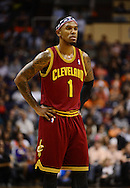 Nov. 09, 2012; Phoenix, AZ, USA; Cleveland Cavaliers guard Daniel Gibson (1) reacts on the court in the game against the Phoenix Suns during the second half at US Airways Center. The Suns defeated the Cavaliers 107-105. Mandatory Credit: Jennifer Stewart-US PRESSWIRE.