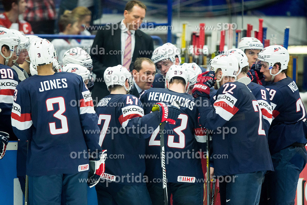 Todd Richards, head coach of USA with players at time out during Ice Hockey match between Russia and USA at Day 4 in Group B of 2015 IIHF World Championship, on May 4, 2015 in CEZ Arena, Ostrava, Czech Republic. Photo by Vid Ponikvar / Sportida