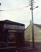 old dublin street photos October 1983 Vin Gay Ltd grocery and off licence Harp, Satzenbraw,