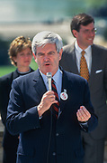 WASHINGTON, DC, USA - 1997/04/15: U.S. Speaker Newt Gingrich addresses a rally of Republican members of Congress on Tax Day at the West side of the U.S. Capitol April 15, 1997 in Washington, DC. Gingrich is pushing for a constitutional amendment that would require a two-thirds vote in each chamber to increase taxes.  (Photo by Richard Ellis)