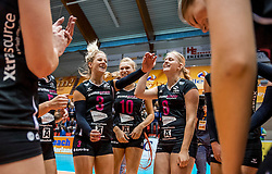 02-10-2016 NED: Supercup VC Sneek - Eurosped, Doetinchem<br /> Eurosped wint de Supercup door Sneek met 3-0 te verslaan / Judith Kamphuis #3 of Eurosped, Colina Makken #10 of Eurosped, Ellen Jansen #8 of Eurosped