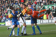 Andy Lonergan makes a save during the EFL Sky Bet League 1 match between Plymouth Argyle and Rochdale at Home Park, Plymouth, England on 23 February 2019.