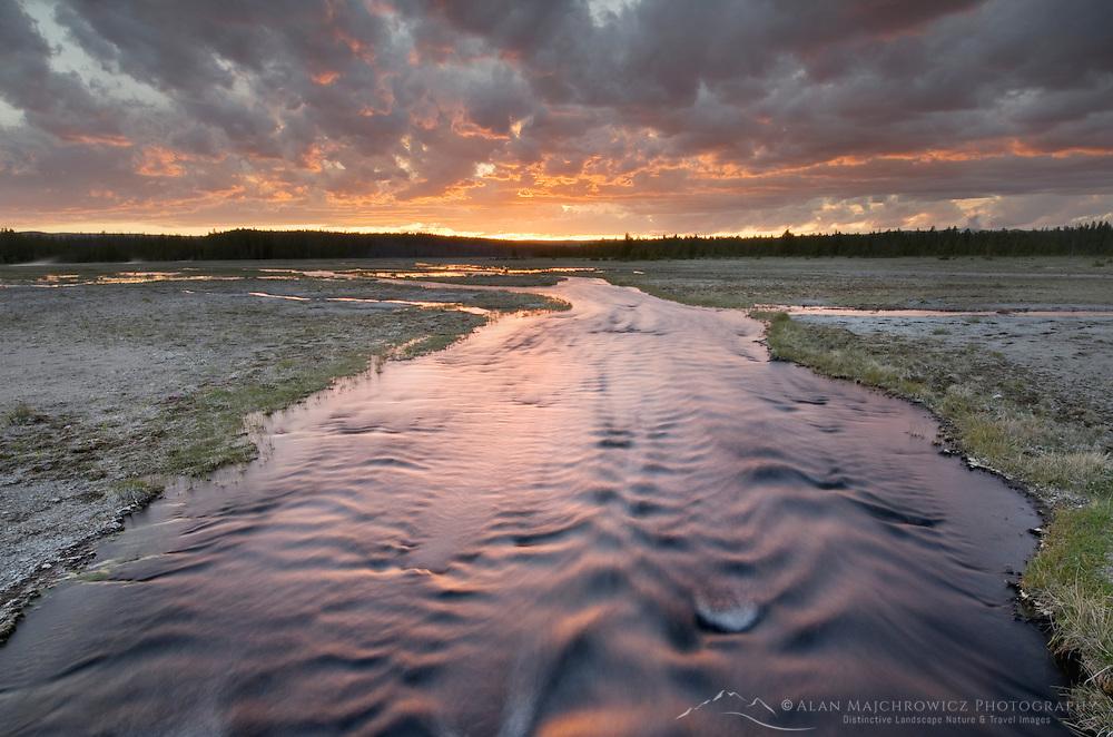 Stream at sunset near Firehole Lake, Yellowstone National Park Wyoming