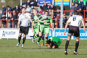 Forest Green's Marcus Kelly controls the ball during the Vanarama National League match between Bromley FC and Forest Green Rovers at Hayes Lane, Bromley, United Kingdom on 28 March 2016. Photo by Shane Healey.