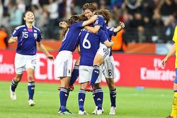 13.07.2011, Commerzbank Arena, Frankfurt, GER, FIFA Women Worldcup 2011, Halbfinale,  Japan (JPN) vs. Schweden (SWE), im Bild.Torjubel / Jubel  nach dem 3:1 durch Nahomi Kawasumi (Japan).. // during the FIFA Women´s Worldcup 2011, Semifinal, Japan vs Sweden on 2011/07/13, Commerzbank Arena, Frankfurt, Germany.   EXPA Pictures © 2011, PhotoCredit: EXPA/ nph/  Mueller       ****** out of GER / CRO  / BEL ******