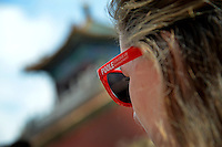 Hannah Buckley rocks her Poole College of Management sunglasses while touring the Forbidden City.