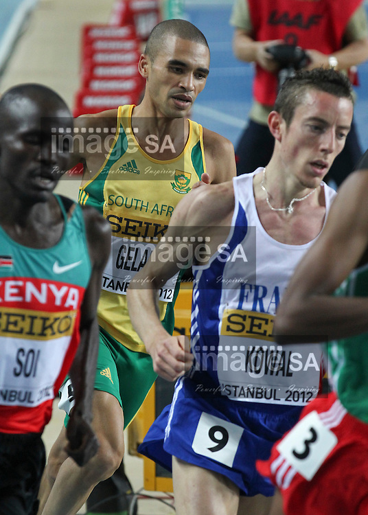 ISTANBUL, TURKEY: Friday 9 March 2012, Elroy Gelant -RSA- of South Africa in the 3000m heat during the evening session of Day 1 at the IAAF World Indoor Championships being held at the Atakoy Athletics Arena in Istanbul..Photo by Roger Sedres/ImageSA