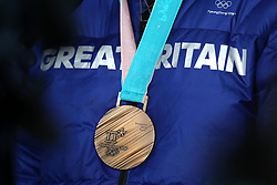 A close up of Great Britain's Billy Morgan's Bronze medal during the Men's Snowboarding Big Air Final medal ceremony on day fifteen of the PyeongChang 2018 Winter Olympic Games in South Korea.
