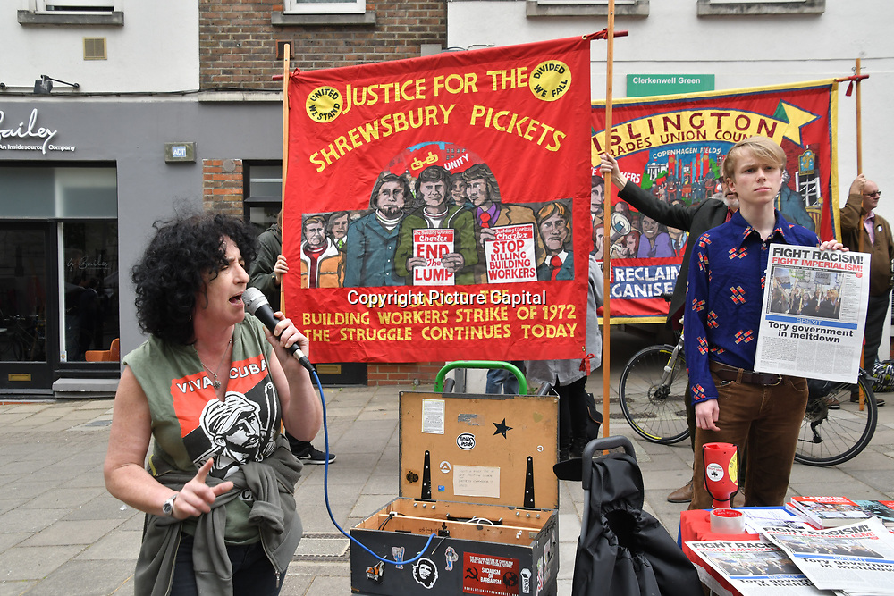 London, UK. 1st May, 2019.  Revolutionary Communist Party fights against imperialism fights capitalism join Thousands of people for the annual May Day march on May 1st, 2019 in London.