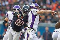 25 November 2012: Defensive end (90) Julius Peppers of the Chicago Bears rushes quarterback (7) Christian Ponder of the Minnesota Vikings during the second half of the Bears 28-10 victory over the Vikings in an NFL football game at Soldier Field in Chicago, IL.