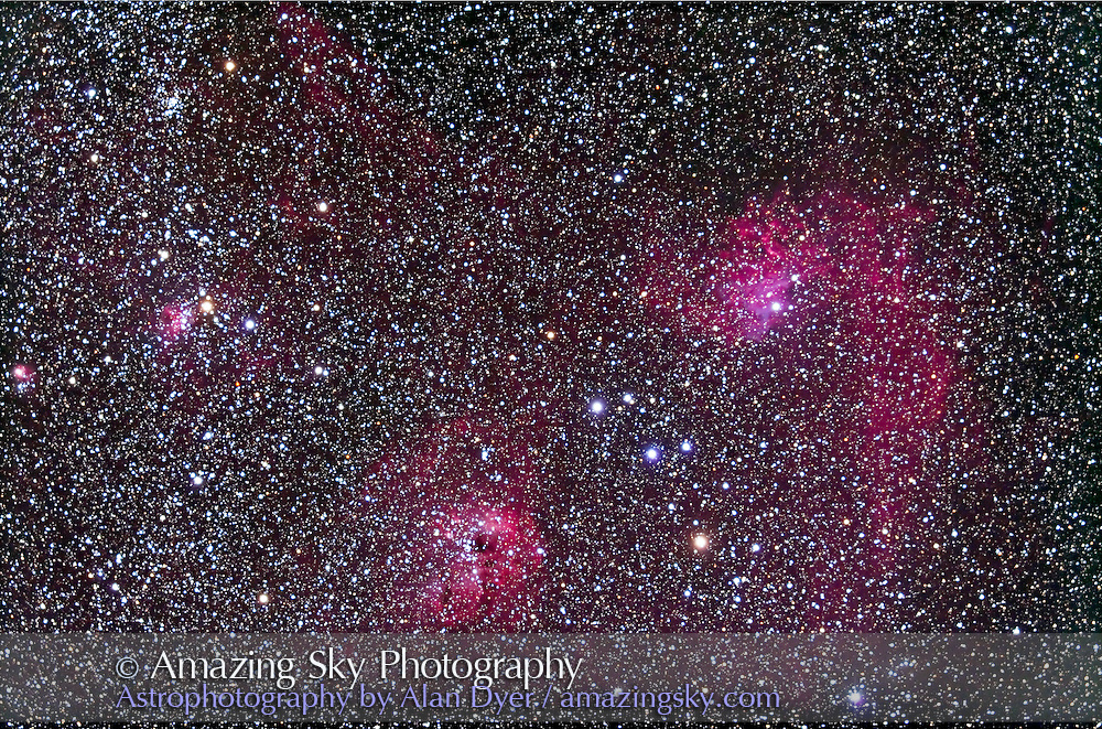 Area of Flaming Star Nebula and IC 405-410-417 complex in Auriga. Stack of 4 x 12 minute exposures with TMB 92mm apo and Canon 5D MkII at ISO 400 and Borg 0.85x flattener/reducer for f/4.6.