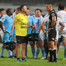 DURBAN, SOUTH AFRICA - APRIL 14: Johan Pretorius Head Strength & Conditioning Coach of the Cell C Sharks with Louis Schreuder of the Cell C Sharks during the Super Rugby match between Cell C Sharks and Vodacom Bulls at Jonsson Kings Park Stadium on April 14, 2018 in Durban, South Africa. (Photo by Steve Haag/Gallo Images)
