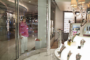 BALI, INDONESIA JAN 2015;<br />Tourists window shopping on board of the Chrystal Symphony Cruise docked in the Harbour in Bali, Indonesia, Jan 2015<br />@Giulio Di Sturco