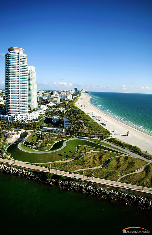 Aerial of Continuum Condominiums, South Pointe Park and South Beach looking Norths