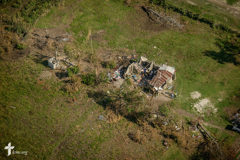 A house with a tin roof destroyed by Hurricane Matthew, on Wednesday, Oct. 12, 2016, near Les Cayes, Haiti. LCMS Communications/Erik M. Lunsford