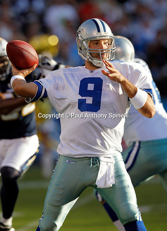 Dallas Cowboys quarterback Tony Romo (9) throws a pass during pregame warmups at the NFL week 2 preseason football game against the San Diego Chargers on Saturday, August 21, 2010 in San Diego, California. The Cowboys won the game 16-14. (©Paul Anthony Spinelli)