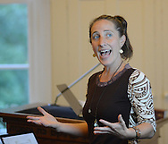 Julie Seltzer gestures as she speaks about writing the Torah at Kehilat Hanahar Little Shul by the River Wednesday September 16, 2015 in New Hope, Pennsylvania.  (Photo by William Thomas Cain)