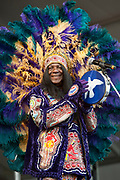 NEW ORLEANS, LA - APRIL 28:  Big Chief Monk Boudreaux of Voice of the Wetlands All-Stars performs during the 2012 New Orleans Jazz & Heritage Festival at the Fair Grounds Race Course on April 28, 2012 in New Orleans, Louisiana.  (Photo by Erika Goldring/FilmMagic) *** Local Caption *** Monk Boudreaux