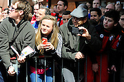 Fans outside the Vitality Stadium watching the Liverpool players arrive before the Barclays Premier League match between Bournemouth and Liverpool at the Goldsands Stadium, Bournemouth, England on 17 April 2016. Photo by Graham Hunt.