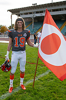 KELOWNA, BC - OCTOBER 6: Cole Stregger #19 of Okanagan Sun stands on the field after the win against the VI Raiders at the Apple Bowl on October 6, 2019 in Kelowna, Canada. (Photo by Marissa Baecker/Shoot the Breeze)