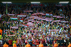 LIVERPOOL, ENGLAND - Wednesday, September 16, 2009: Debreceni's supporters during the UEFA Champions League Group E match at Anfield. (Photo by David Rawcliffe/Propaganda)