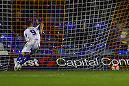 Danny Rose of Bury celebrates scoring the opening goal during the Sky Bet League 2 match at Kenilworth Road, Luton<br /> Picture by David Horn/Focus Images Ltd +44 7545 970036<br /> 19/08/2014