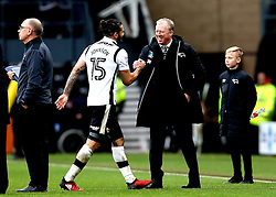 Derby County manager Steve McClaren high fives Bradley Johnson of Derby County after the victory over Nottingham Forest - Mandatory by-line: Robbie Stephenson/JMP - 11/12/2016 - FOOTBALL - iPro Stadium - Derby, England - Derby County v Nottingham Forest - Sky Bet Championship